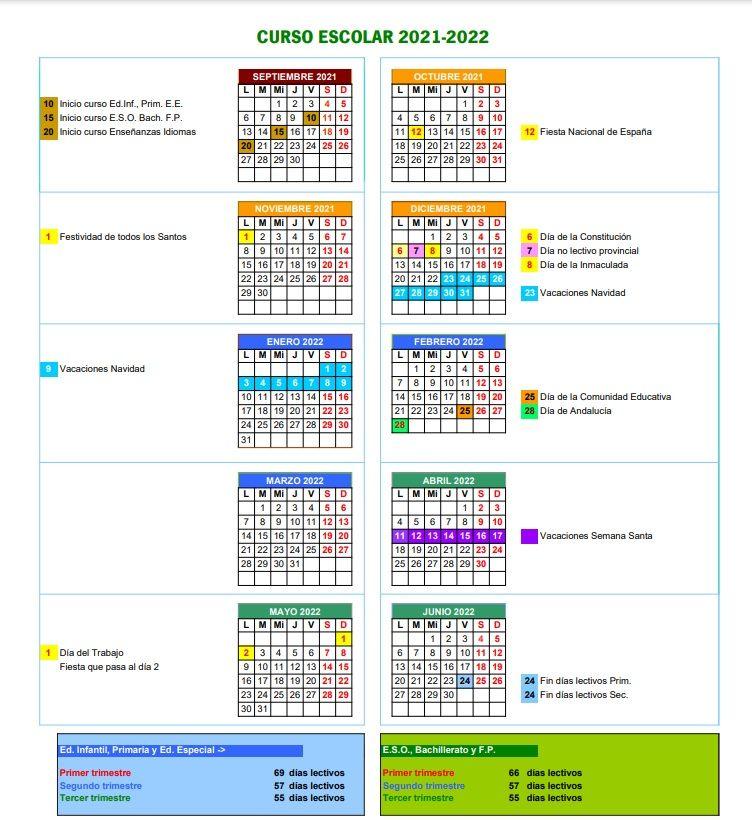 Calendario Escolar Córdoba 21-22